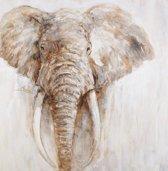 Olieverfschilderij - schilderij - Olifant - 100x100