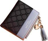 ZILOU Compacte Portemonnee - Mini Wallet - Portefeuille - Dames - Kunstleer - Zwart