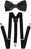 Fako Fashion® - Bretels Met Vlinderstrik - Effen - 100cm - Zwart