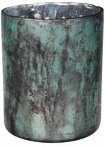 MAR10 Kaarsenhouder Laiz Turquoise 23cm Glas Industrieel