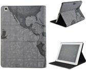 iPad Air 1 - Design Smart Book Case hoesje Bookcase Cover - Map WereldHoes Kaart Grijs / World Hoes Kaart