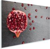 Granaatappel en zaden op tafel Plexiglas 90x60 cm - Foto print op Glas (Plexiglas wanddecoratie)