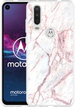 Motorola One Action Hoesje White Pink Marble