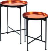 Pomax Favorit - Dienbladen op stand - aluminium - Koper - Set van 2