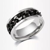 Stalen ring met zwarte ketting maat 16