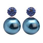Fako Bijoux® - Oorbellen - Double Disco Dots - Parel - Donkerblauw