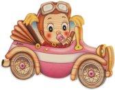 Naambord baby aan boord meisje van hout 20,5 x 13,5 | Bartolucci