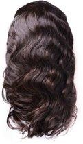 Front Lace Wig_100% Human Hair_ Braziliaanse Body Wave, 18inch Pre Geplukt met Baby Haar