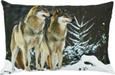 groot kussen canvas 2 wolven 40x60cm