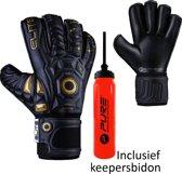 Elite - Black Real - Keepershandschoenen - inclusief Keepersbidon - maat 9 - voetbal keepershandschoenen - keepershandschoen - Goalkeeper handschoen