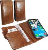Tuff-luv - Vintage leren wallet style case voor de Apple IPhone X - bruin