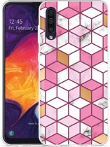 Samsung Galaxy A50 Hoesje Pink-gold-white Marble