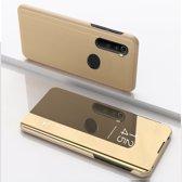 Let op type!! Voor Xiaomi Redmi Note 8 plating spiegel horizontale Flip lederen draagtas met beugel holster (goud)