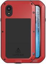 Metalen fullbody hoes voor Apple iPhone XR, Love Mei, metalen extreme protection case, zwart-rood