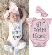 Rompertje I get it from my mama + haarband| Newborn babygirl | 3-6 mnd