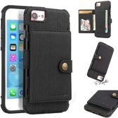 Let op type!! For iPhone 6s / 6 Brushed Texture Shockproof PU + TPU Case  with Card Slots & Wallet & Photo Frame(Black)