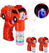 relaxdays 3 x bellenblaas pistool brandweer - bellenblaaspistool - LED - bellenblaassop