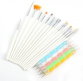 20 delige nail art set wit - 15 nailart penselen en 5 dotting tools voor nagels