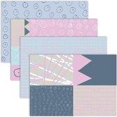 Decoupagepapier, vel 25x35 cm,  17 gr, pastelkleuren, 8div vellen