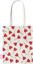 BEACHLANE - Katoenen tasje - Canvas Tote Bag Shopper - Love pop / Hartjes print - Schoudertas / Boodschappen tas