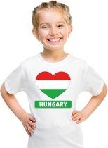 Hongarije kinder t-shirt met Hongaarse vlag in hart wit jongens en meisjes S (122-128)