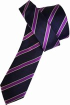 ThannaPhum Zijden stropdas donkerblauw met paarse strepen