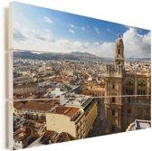 Skyline van de stad Málaga Vurenhout met planken 80x60 cm - Foto print op Hout (Wanddecoratie)