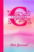Cassandra Dot Journal: Personalized Custom First Name Personal Dotted Bullet Grid Writing Diary - Cute Pink & Purple Watercolor Cover - Daily