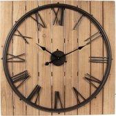 Klok 80*80*5 cm / 1*AA Zwart bruin | 5KL0139 | Clayre & Eef