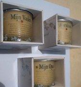 Vanilla Scent special geurkaarsen in pot met tekst 3x
