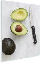 Avocado gesneden met een mes Plexiglas 20x30 cm - klein - Foto print op Glas (Plexiglas wanddecoratie)
