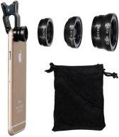 3 in 1 Zwarte universele lens clip met 3 opzetstukken - Fish eye lens - 0,67x wide lens - macro lens - passend op elke smartphone en met handig opberg zakje!