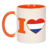 1x I love Holland beker / mok - oranje met wit - 300 ml keramiek - oranje bekers