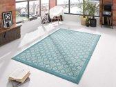 Modern vloerkleed ruiten Tile - blauw/crème 120x170 cm
