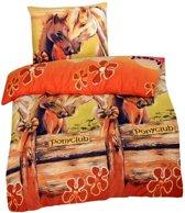 Ponyclub dekbedovertrek - Oranje - 1-persoons (140x200 cm + 1 sloop)