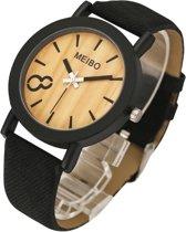 Hidzo Horloge Meibo ø 37 mm - Zwart - Inclusief horlogedoosje
