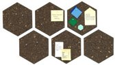 Kurk24 Kurk prikbord zeshoek - donkerbruin - zelfklevend - 30 x 30 cm - 6 stuks