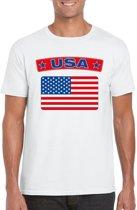 Amerika t-shirt met Amerikaanse vlag wit heren S