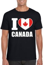 Zwart I love Canada supporter shirt heren - Canadees t-shirt heren 2XL