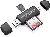 Card Reader 4 in 1 Micro USB naar USB , SD en micro SD kaart reader