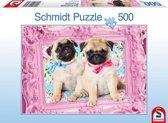 Schmidt puzzel Pug and Puglet 500 stukjes