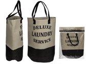 Wasmand/Opbergmand - De luxe laundry service logo -Beige/Zwart.