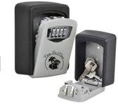 sleutelkluis met cijferslot - sleutelkastje - muurkluis - centraal opbergen van sleutels - thuiszorg - weerbestendig - sleutelkluis voor binnen en buiten - wandmontage - grijs - alternatief Masterlock - puck - inclusief montage set