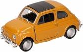 Speelgoed modelauto gele Fiat 500 classic auto 10,5 cm