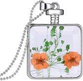 Fako Bijoux® - Ketting - Gedroogde Bloem - Vierkant - Zilverkleurig - Oranje/Groen