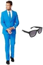 Blauw heren kostuum / pak - maat 46 (S) met gratis zonnebril