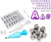 HF - 48 Icing spuitmondjes-40 Uitstekers alfabet -7  rvs russische bloemen tips-Compelete icing decoratie garneer set