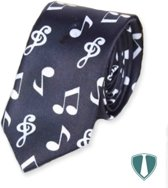 Fun & Feest stropdas muziek, witte noten