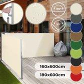 Zonne- windscherm 180 x 600 cm dubbel beige creme met vloerbeugel