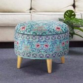 Fine Asianliving Poef Hocker Opbergbox Blauw Details Ø 49 cm